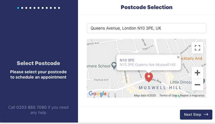 booking form postcode area selection